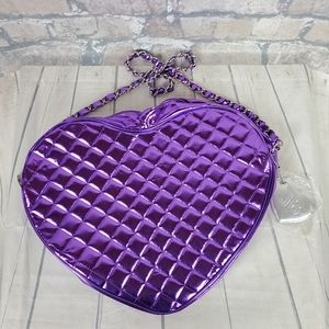 Justin Bieber Metallic Purple Quilted Heart Handbag Dead Stock Chain Strap